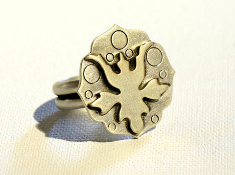 Abstract Botanical Art Deco Sterling Silver Statement Ring, NiciArt
