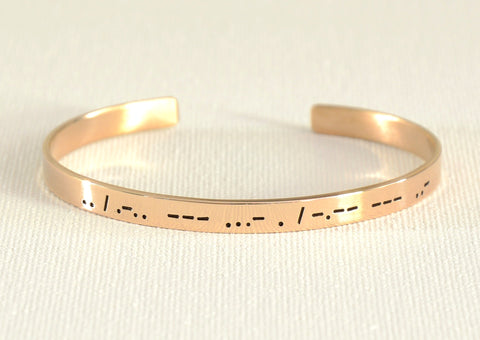 Morse Code Cuff Bracelet with I Love You in Bronze, NiciArt