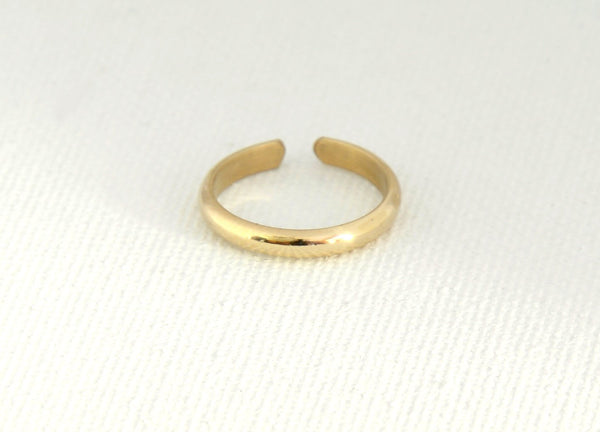 Gold Toe Ring in Half Round Design, 2.1mm 14K Yellow Gold filled and Adjustable