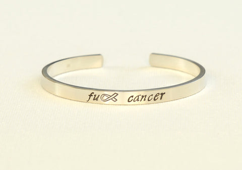 Fuck Cancer Sterling Silver Cuff Bracelet, NiciArt