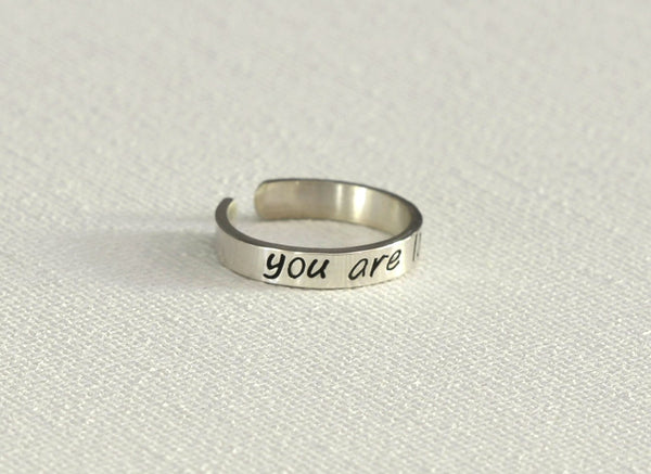 You are loved dainty sterling silver toe ring