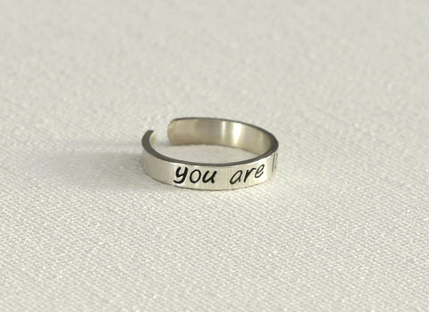 You are loved dainty sterling silver toe ring, NiciArt