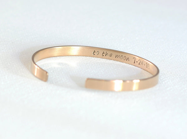 Love you to the moon and back inside stamped bronze cuff bracelet