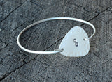 Sterling Silver Tension Bangle with Hammered Infinity Guitar Pick, NiciArt