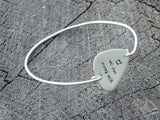 Guitar Pick Bangle Stamped with You Tune me On in 925 Sterling Silver, NiciArt