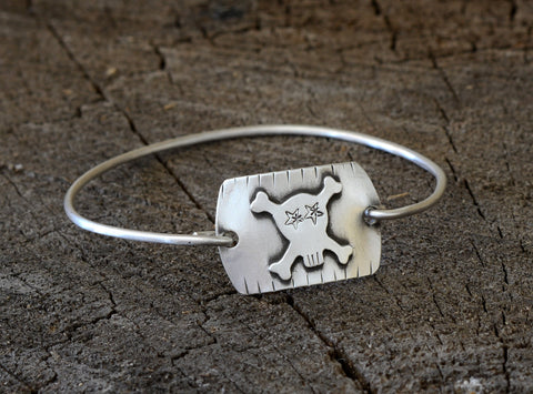 Skull and Crossbones Bad Ass Sterling Silver Tension Bangle