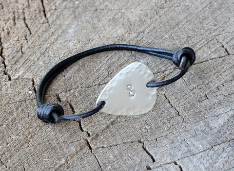 Guitar Pick Bracelet in Sterling Silver with Infinity Symbol and Hammered Pattern