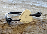 Leather and Sterling Silver Guitar Pick Bracelet Stamped with I Plucking Love You, NiciArt