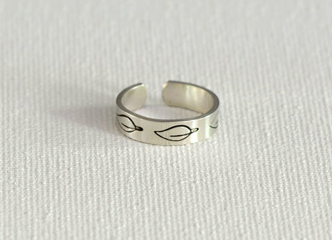 Leaf Toe Ring in Sterling Silver, NiciArt