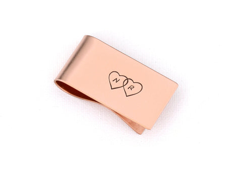 Money Clip with Initials and Double Hearts for Personalized Statements of Love, NiciArt