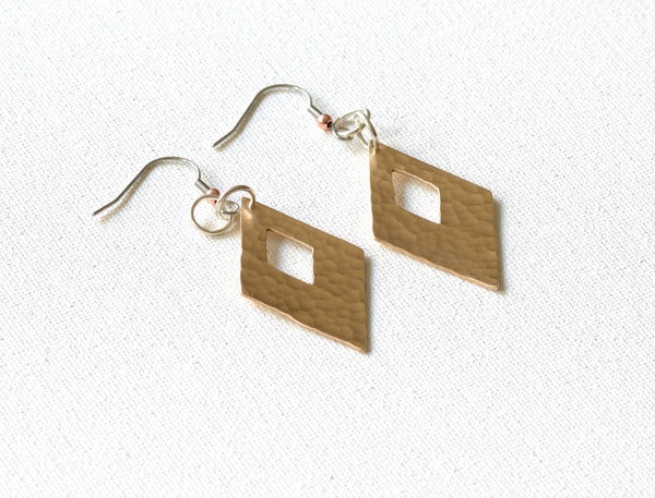Hammered Copper Earrings in Diamond Shape to meld Rustic and modern Simplicity
