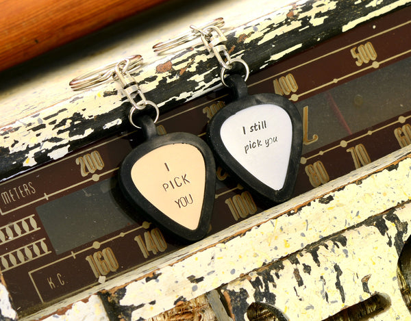 Personalized Guitar Pick Keychains for Couples  – I still pick you – I pick you