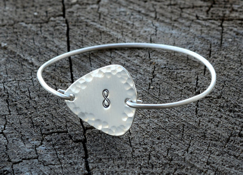 Sterling Silver Tension Bangle with Hammered Infinity Guitar Pick
