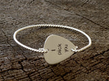 I Pick You Guitar Pick Tension Bangle with Twisted Wire all in Solid 925 Sterling Silver, NiciArt