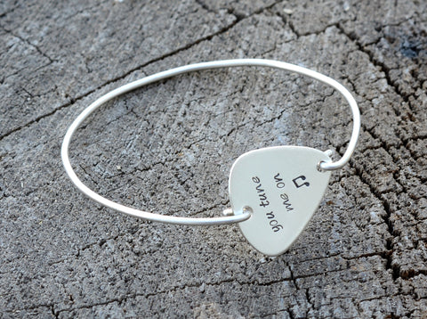 Guitar Pick Bangle Stamped with You Tune me On in 925 Sterling Silver