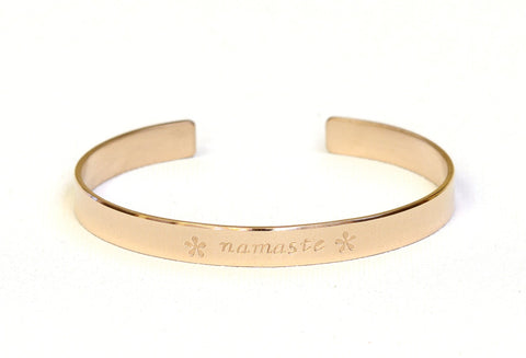 Gold Namaste Cuff Bracelet in Solid 14k Yellow Gold