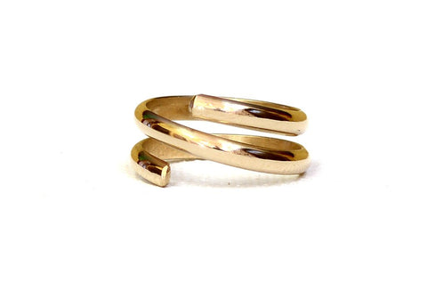 Gold Wrap Ring handcrafted Half Round with Mirror Finish – Solid Yellow 14k Gold, NiciArt