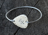Sea Turtle Tension Bangle Rocking out a Hammered Sterling Silver Guitar Pick, NiciArt