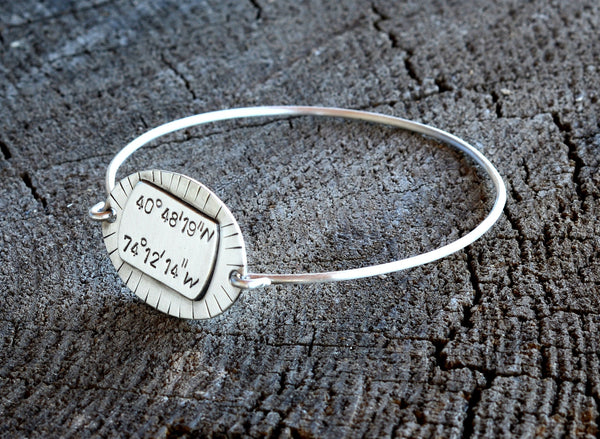 Artisan Latitude Longitude Tension Bangle with Rustic Handmade Tag for Displaying your Coordinates, NiciArt