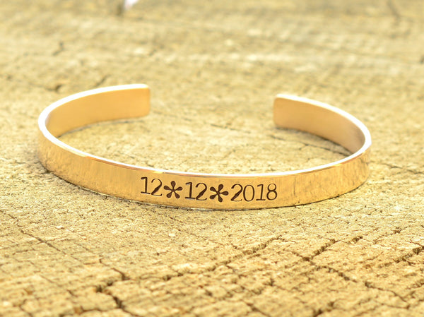 Bronze cuff bracelet for Celebrating a Special Date, NiciArt