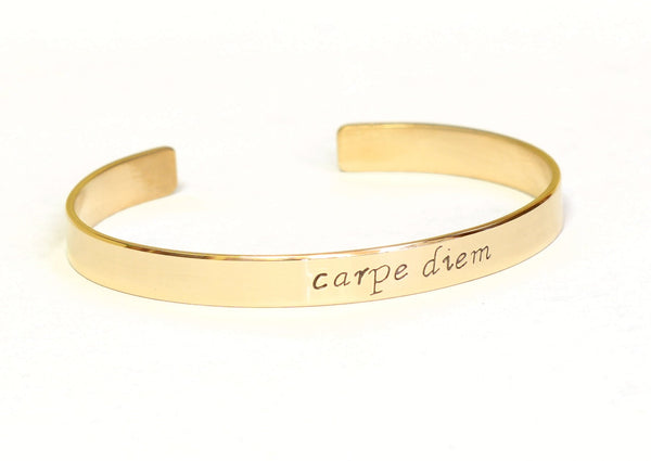 Bronze Cuff Bracelet with Carpe Diem to Seize the Day, NiciArt