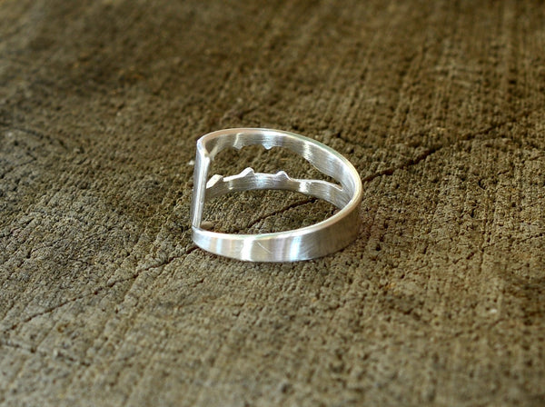 Artisan Sterling Silver Wrap Ring with Leaf Cut Out, NiciArt
