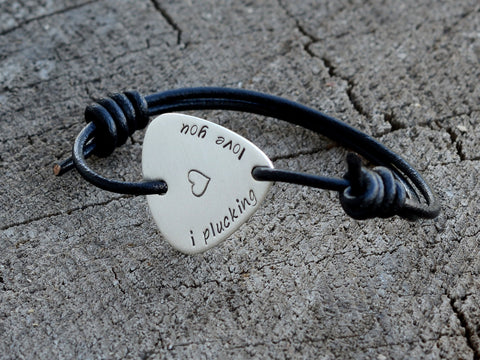 Leather and Sterling Silver Guitar Pick Bracelet Stamped with I Plucking Love You