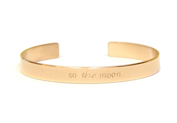 14k Gold Cuff Bracelet stamped with to the Moon aka love you to the Moon and back in solid Gold, NiciArt