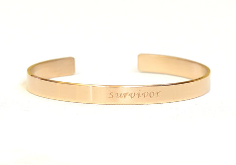 Gold Survivor Cuff Bracelet for Cancer  – Solid 14k Yellow Gold
