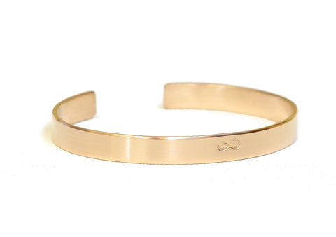 Solid Gold Infinity Cuff Bracelet in 14k Yellow Gold