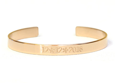 Celebrate the Date in solid 14k Gold Bracelet, NiciArt