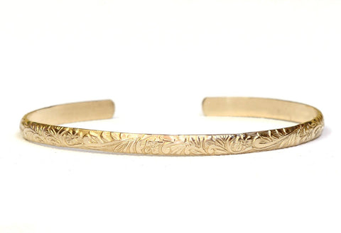 Floral Pattern 14k solid Yellow Gold Cuff Bracelet