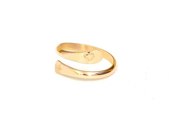 Artisan 14k Solid Gold Wrap Ring with Forged Ends and Engraved Symbols, NiciArt