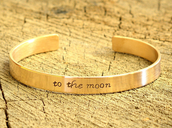 Bronze Bracelet stamped with to the Moon aka love you to the Moon and Back, NiciArt
