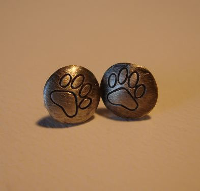Wild Paw Stud Earrings in Sterling Silver, NiciArt
