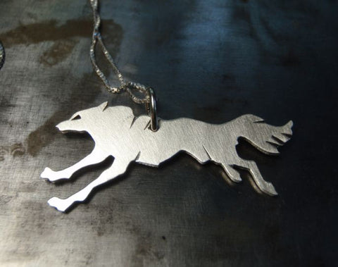 Silver Wolf Pendant sterling silver wolf necklace fresh from the bench, NiciArt