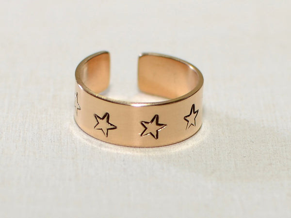 14K solid gold toe ring with stars, NiciArt
