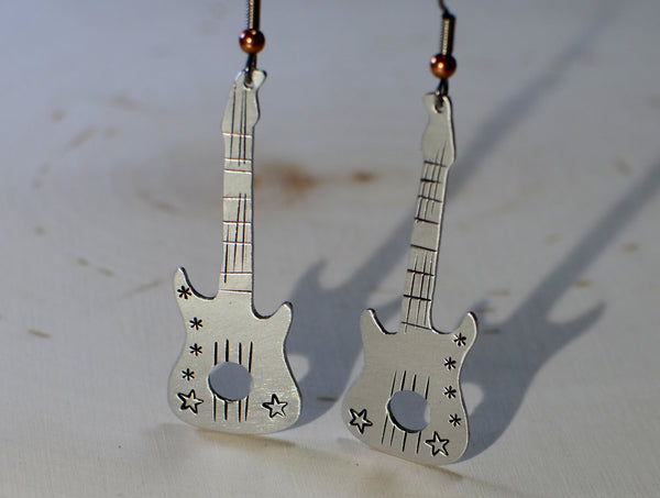 Guitar shaped dangle earrings handmade in aluminum