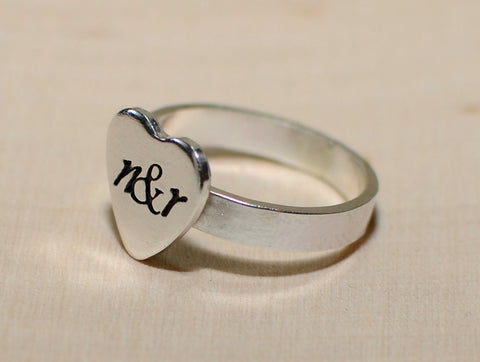 Sterling silver heart ring personalized and custom fitted, NiciArt