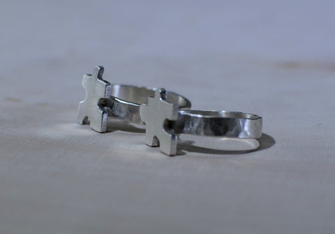 Interlocking sterling silver puzzle rings for best friends, NiciArt