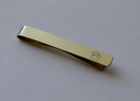 Tie bar with a paw print in 14K solid gold, NiciArt
