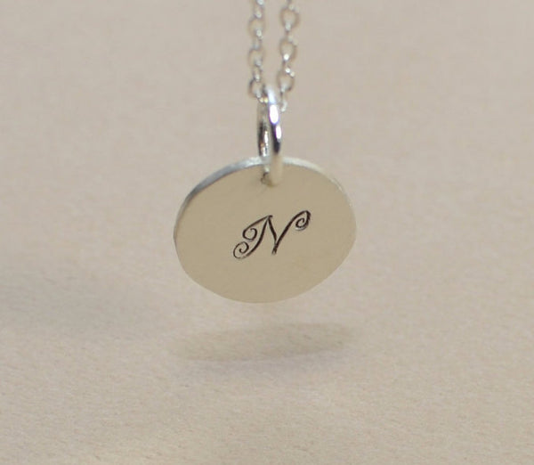 Sterling silver personalized initial charm necklace