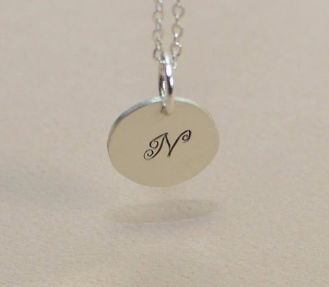 Sterling silver personalized initial charm necklace, NiciArt