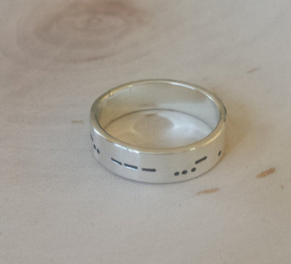 Morse Code ring in sterling