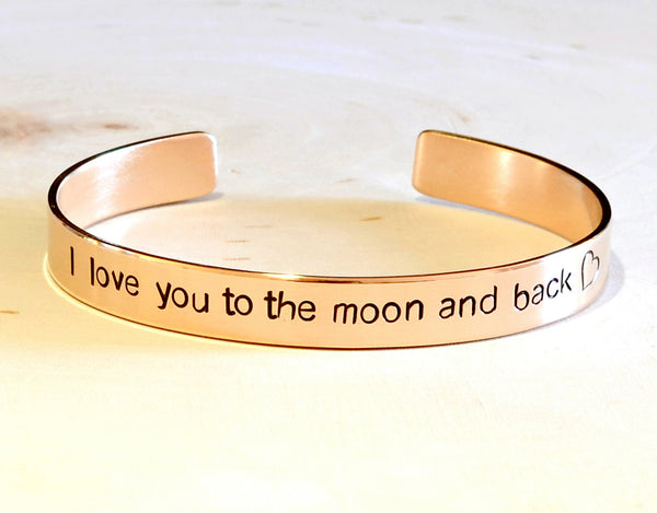 Bronze cuff bracelet I love you to the moon and back, NiciArt