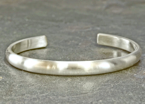 Modern half round brushed sterling silver cuff bracelet, NiciArt