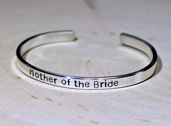 Mother of the bride cuff bracelet in sterling silver