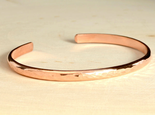 Dainty Hammered Copper Cuff Bracelet