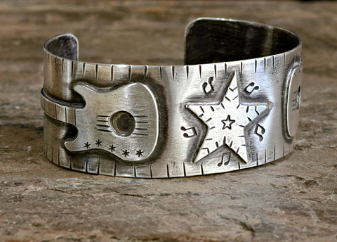 Sterling silver guitar bracelet for musicians and rock stars, NiciArt