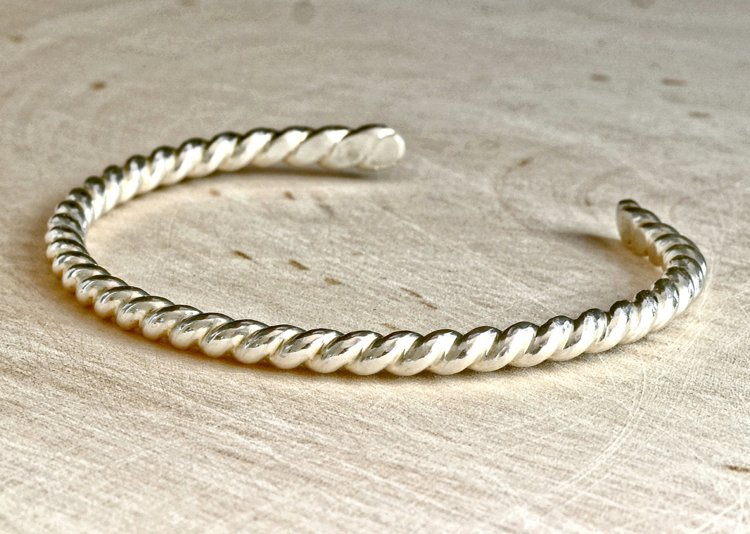 Twisted Sterling Silver Wire Cuff Bracelet - NiciArt